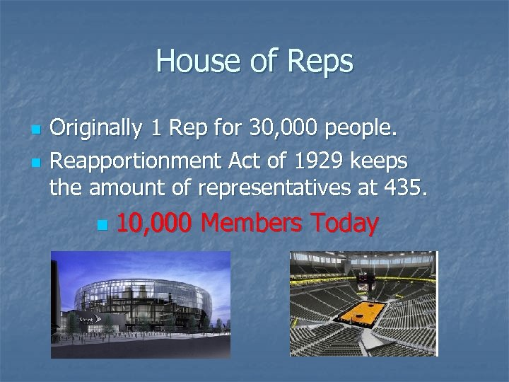 House of Reps n n Originally 1 Rep for 30, 000 people. Reapportionment Act