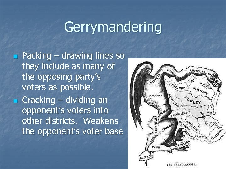 Gerrymandering n n Packing – drawing lines so they include as many of the