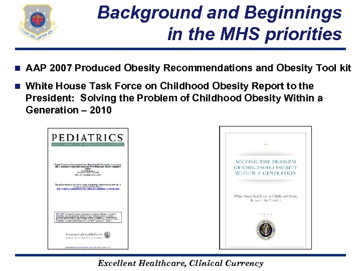 Background and Beginnings in the MHS priorities n AAP 2007 Produced Obesity Recommendations and