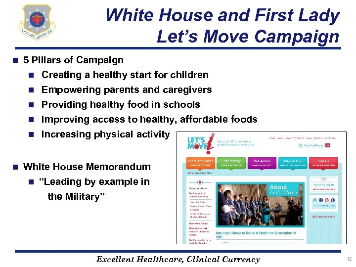 White House and First Lady Let's Move Campaign n 5 Pillars of Campaign n