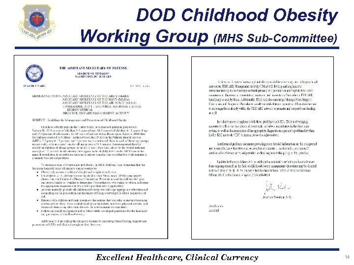 DOD Childhood Obesity Working Group (MHS Sub-Committee) Excellent Healthcare, Clinical Currency 14