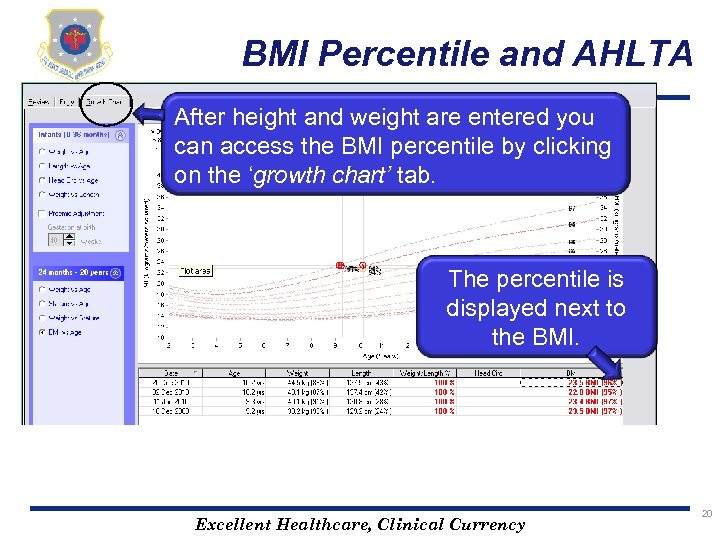 BMI Percentile and AHLTA After height and weight are entered you can access the