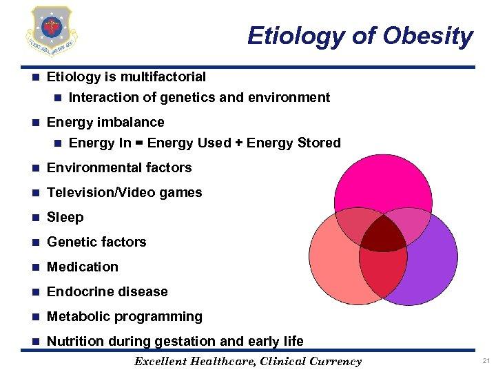 Etiology of Obesity n Etiology is multifactorial n Interaction of genetics and environment n