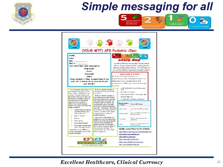 Simple messaging for all Excellent Healthcare, Clinical Currency 25