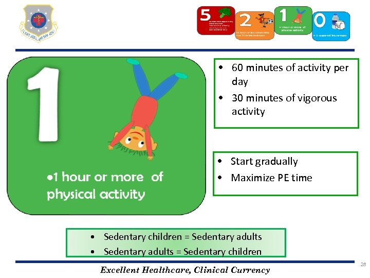 • 60 minutes of activity per day • 30 minutes of vigorous activity