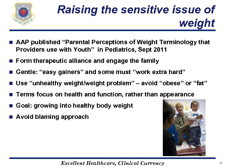 """Raising the sensitive issue of weight n AAP published """"Parental Perceptions of Weight Terminology"""