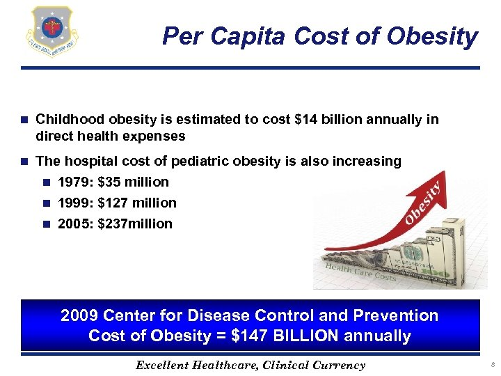 Per Capita Cost of Obesity n Childhood obesity is estimated to cost $14 billion