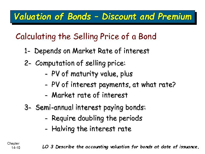 Valuation of Bonds – Discount and Premium Calculating the Selling Price of a Bond