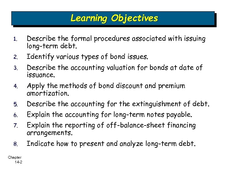 Learning Objectives 1. Describe the formal procedures associated with issuing long-term debt. 2. Identify