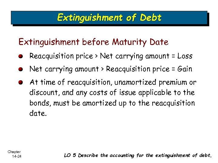 Extinguishment of Debt Extinguishment before Maturity Date Reacquisition price > Net carrying amount =