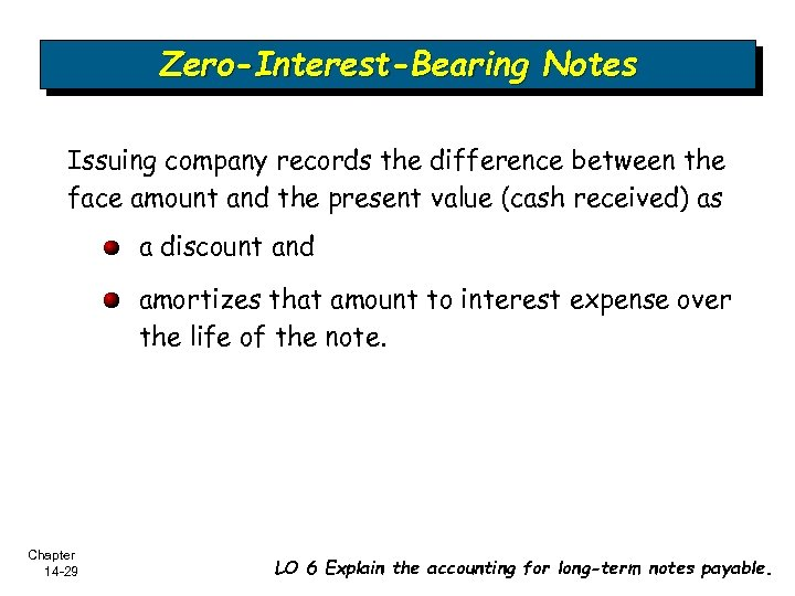 Zero-Interest-Bearing Notes Issuing company records the difference between the face amount and the present