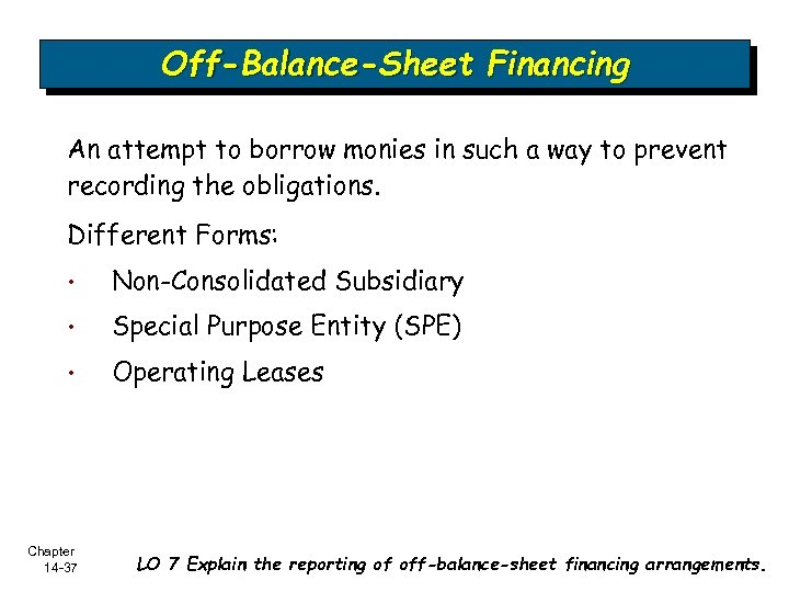 Off-Balance-Sheet Financing An attempt to borrow monies in such a way to prevent recording