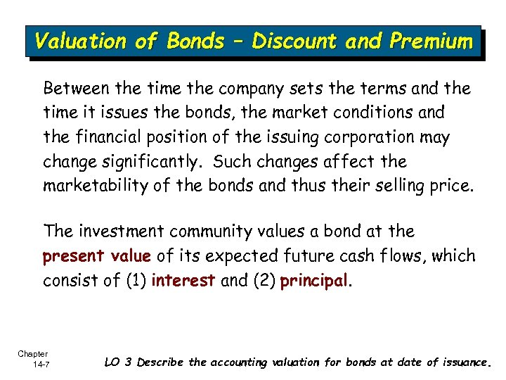 Valuation of Bonds – Discount and Premium Between the time the company sets the
