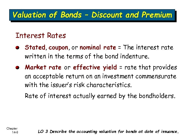 Valuation of Bonds – Discount and Premium Interest Rates Stated, coupon, or nominal rate