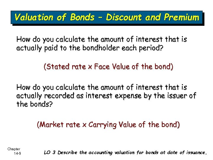 Valuation of Bonds – Discount and Premium How do you calculate the amount of