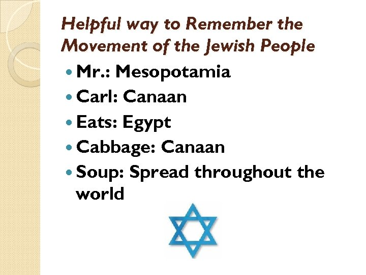 Helpful way to Remember the Movement of the Jewish People Mr. : Mesopotamia Carl: