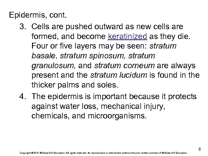 Epidermis, cont. 3. Cells are pushed outward as new cells are formed, and become
