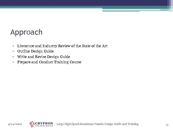 Approach • • Literature and Industry Review of the State of the Art Outline