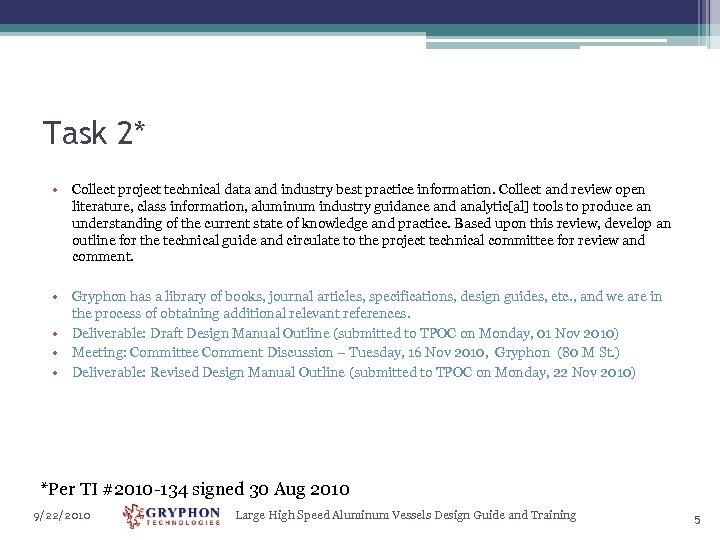 Task 2* • Collect project technical data and industry best practice information. Collect and