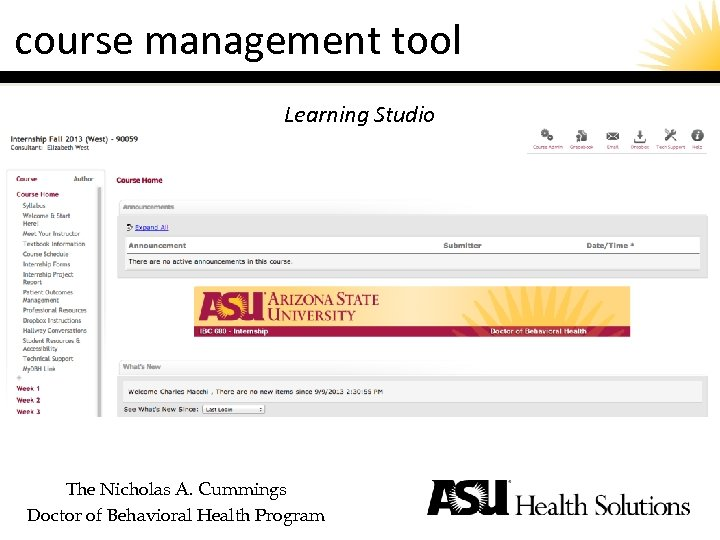 course management tool Learning Studio The Nicholas A. Cummings Doctor of Behavioral Health Program