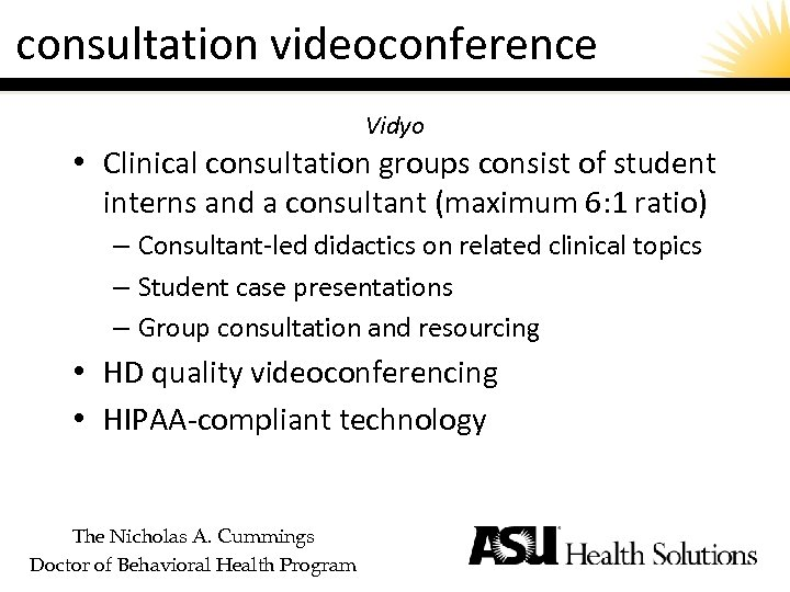 consultation videoconference Vidyo • Clinical consultation groups consist of student interns and a consultant