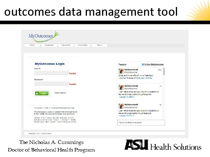 outcomes data management tool The Nicholas A. Cummings Doctor of Behavioral Health Program