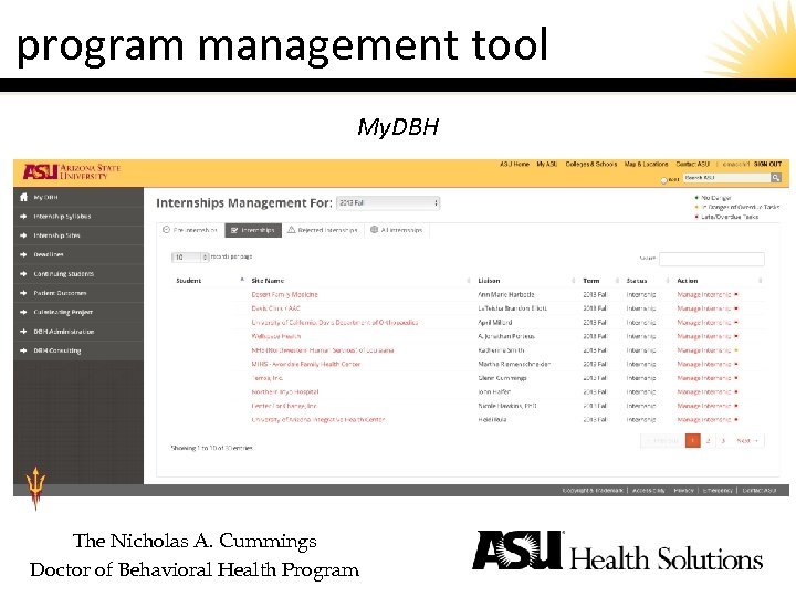program management tool My. DBH The Nicholas A. Cummings Doctor of Behavioral Health Program