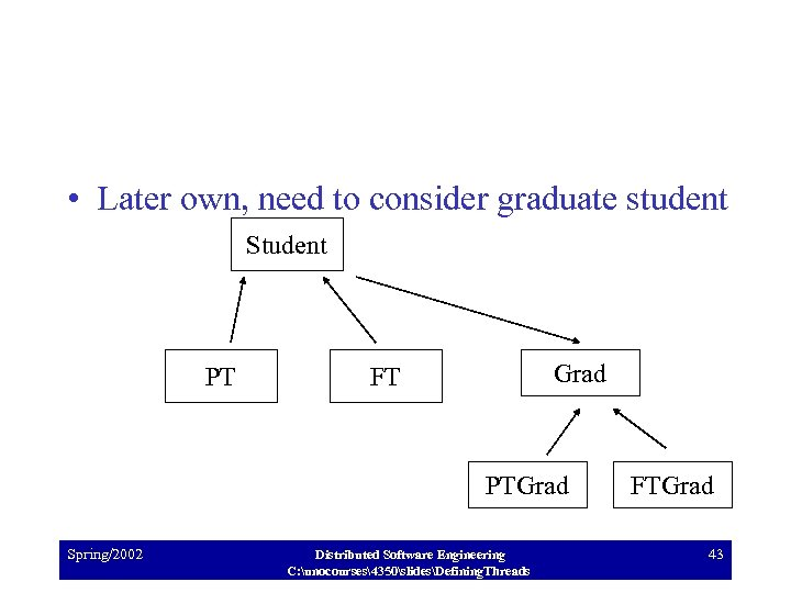 • Later own, need to consider graduate student Student PT Grad FT PTGrad