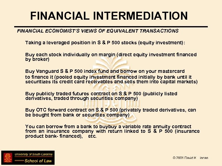 FINANCIAL INTERMEDIATION FINANCIAL ECONOMIST'S VIEWS OF EQUIVALENT TRANSACTIONS Taking a leveraged position in S