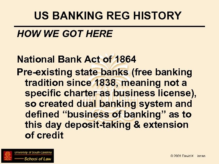 US BANKING REG HISTORY HOW WE GOT HERE National Bank Act of 1864 Pre-existing