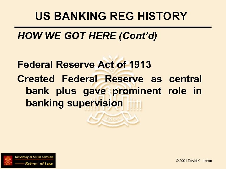 US BANKING REG HISTORY HOW WE GOT HERE (Cont'd) Federal Reserve Act of 1913