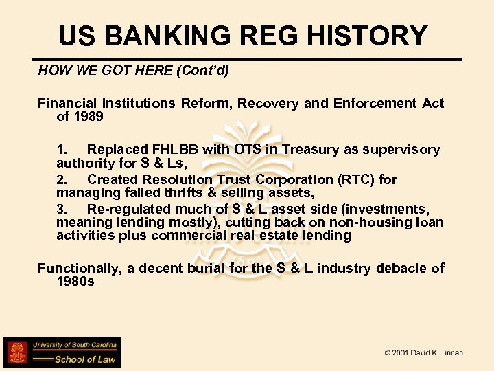US BANKING REG HISTORY HOW WE GOT HERE (Cont'd) Financial Institutions Reform, Recovery and