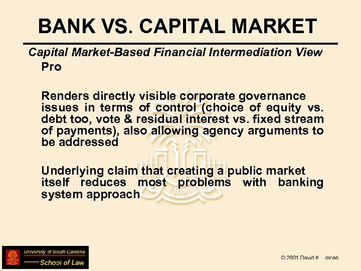 BANK VS. CAPITAL MARKET Capital Market-Based Financial Intermediation View Pro Renders directly visible corporate