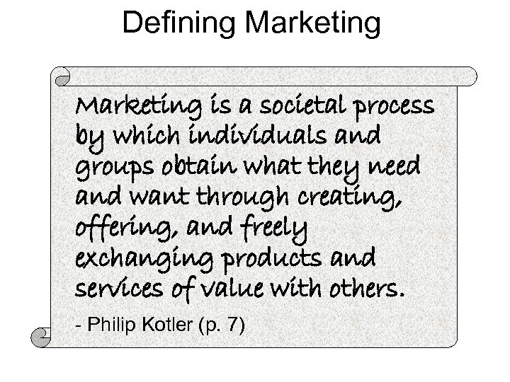 Defining Marketing is a societal process by which individuals and groups obtain what they