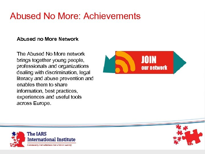 Abused No More: Achievements Abused no More Network The Abused No More network brings