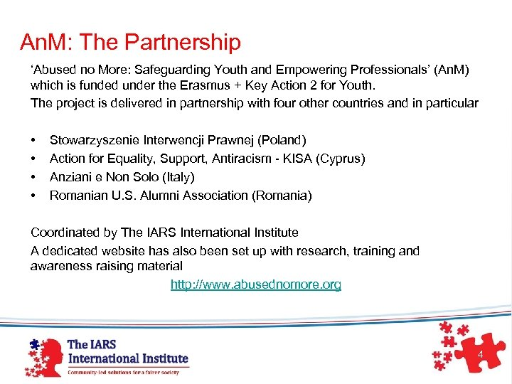 An. M: The Partnership 'Abused no More: Safeguarding Youth and Empowering Professionals' (An. M)