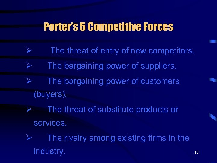 Porter's 5 Competitive Forces Ø The threat of entry of new competitors. Ø The