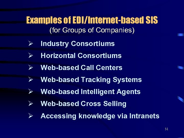Examples of EDI/Internet-based SIS (for Groups of Companies) Ø Industry Consortiums Ø Horizontal Consortiums