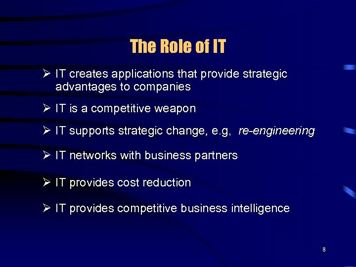The Role of IT Ø IT creates applications that provide strategic advantages to companies