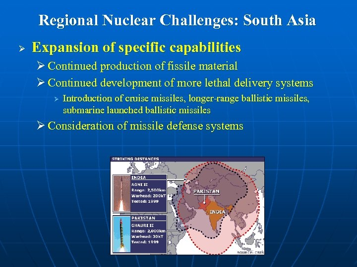 Regional Nuclear Challenges: South Asia Ø Expansion of specific capabilities Ø Continued production of
