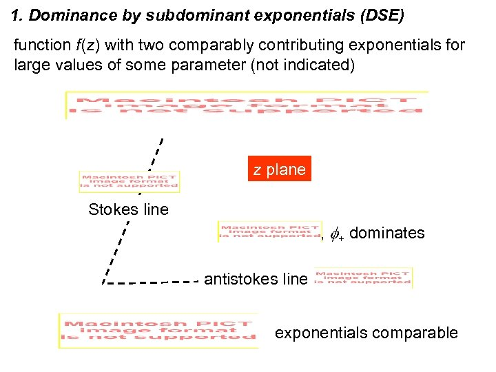 1. Dominance by subdominant exponentials (DSE) function f(z) with two comparably contributing exponentials for