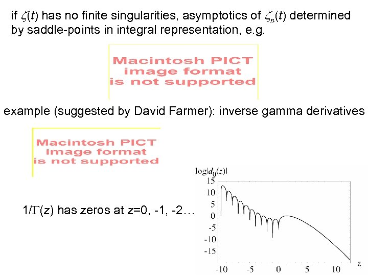 if z(t) has no finite singularities, asymptotics of zn(t) determined by saddle-points in integral