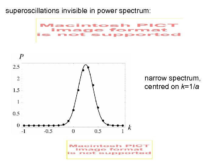 superoscillations invisible in power spectrum: narrow spectrum, centred on k=1/a