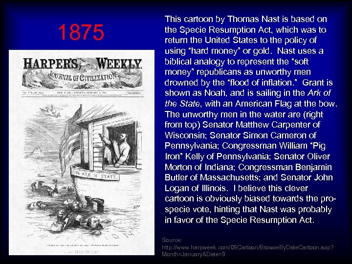 1875 This cartoon by Thomas Nast is based on the Specie Resumption Act, which