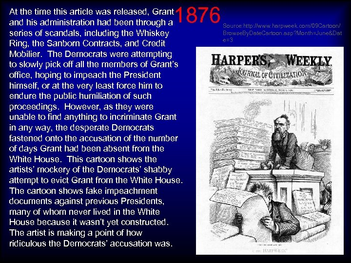 1876 At the time this article was released, Grant and his administration had been