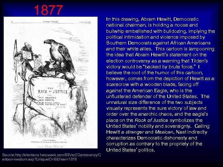 1877 Source: http: //elections. harpweek. com/09 Ver 2 Controversy/C artoon-medium. asp? Unique. ID=6&Year=1876 In