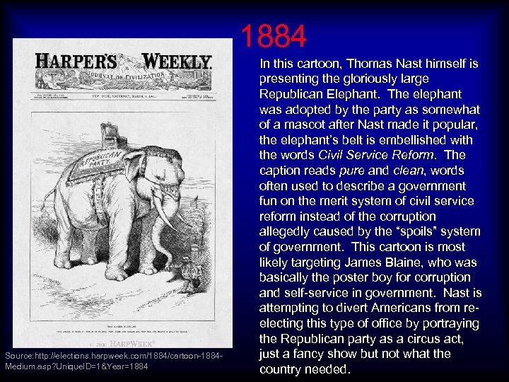 1884 Source: http: //elections. harpweek. com/1884/cartoon-1884 Medium. asp? Unique. ID=1&Year=1884 In this cartoon, Thomas