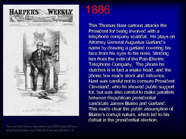 1886 This Thomas Nast cartoon attacks the President for being involved with a telephone