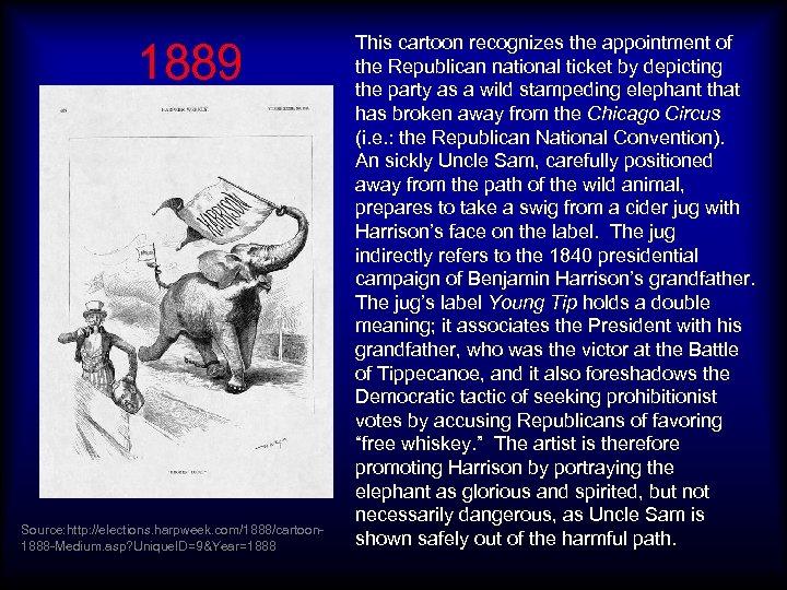 1889 Source: http: //elections. harpweek. com/1888/cartoon 1888 -Medium. asp? Unique. ID=9&Year=1888 This cartoon recognizes