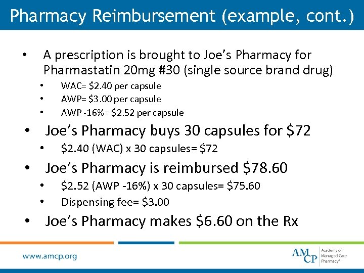 Pharmacy Reimbursement (example, cont. ) • A prescription is brought to Joe's Pharmacy for